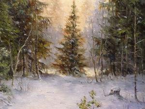 Пишем лесной зимний пейзаж с ёлкой. Часть 2. Ярмарка Мастеров - ручная работа, handmade.