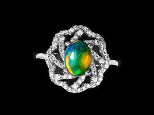 Серебряное кольцо с опалом, размер 18. Ярмарка Мастеров - ручная работа, handmade.