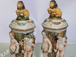 РЕДКОСТЬ Ваза бисквитница лев Каподимонте золото 3. Ярмарка Мастеров - ручная работа, handmade.