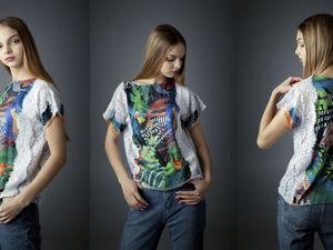 Блузки: Шелковые джунгли, с принтом ручной работы. Ярмарка Мастеров - ручная работа, handmade.