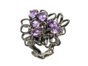 Серебряное кольцо с аметистами, размер 18. Ярмарка Мастеров - ручная работа, handmade.