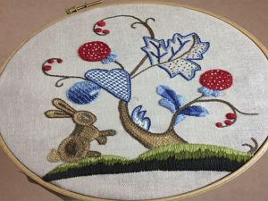 Вышивка  «Заяц в сказочном лесу». Ярмарка Мастеров - ручная работа, handmade.