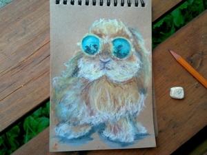 Смешной арт. Рисуем кролика в очках масляной пастелью. Ярмарка Мастеров - ручная работа, handmade.