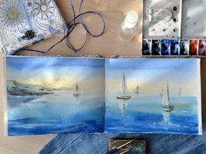 Видео мастер-класс: морская зарисовка акварелью в скетчбуке. Рисуем море и парусники за 30 минут. Ярмарка Мастеров - ручная работа, handmade.