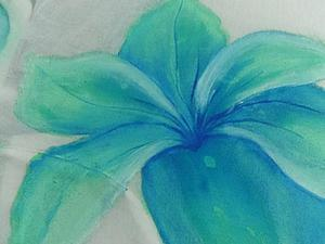 Расписываем платье голубыми цветами. Часть 1. Ярмарка Мастеров - ручная работа, handmade.