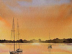 Видео мастер-класс: рисуем морской пейзаж акварелью. Ярмарка Мастеров - ручная работа, handmade.