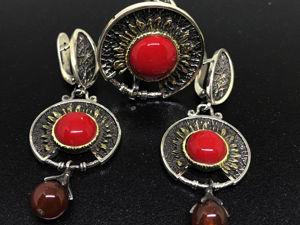 Новогодний аукцион на Серебряный комплект 925 пробы серьги кольцо Красное Солнце. Ярмарка Мастеров - ручная работа, handmade.