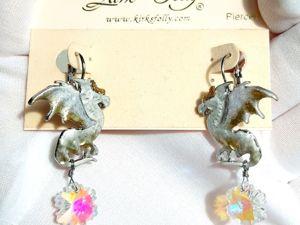 Видео. Серьги БелоСнежные драконы,Kirks Folly,США. Ярмарка Мастеров - ручная работа, handmade.