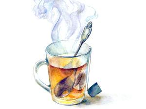 Рисуем акварелью. Чашка горячего чая. Ярмарка Мастеров - ручная работа, handmade.