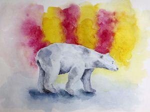 Акварельный рисунок: белый медведь. Ярмарка Мастеров - ручная работа, handmade.
