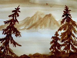 Рисуем простой кофейный пейзаж. Ярмарка Мастеров - ручная работа, handmade.