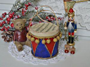 Мастерим ёлочную игрушку в винтажном стиле «Старый барабан». Ярмарка Мастеров - ручная работа, handmade.