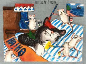 Акция на  «Кошкины Истории»  набор Купонов с Ручной Росписью 6 шт. Ярмарка Мастеров - ручная работа, handmade.