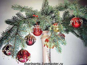 Декорирование ёлочный шаров бисером. Ярмарка Мастеров - ручная работа, handmade.