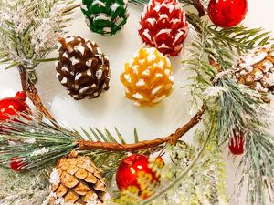 Акция 5+1 !!! Свечи из натурального пчелиного воска новогодние. Шишка, ёлочка, Дед Мороз .Новый год. Ярмарка Мастеров - ручная работа, handmade.