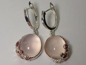 Эксклюзив ! Серебряные серьги с розовым кварцем  « Amore ». Ярмарка Мастеров - ручная работа, handmade.