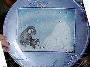 Мастер-класс для детей «Обратный декупаж тарелки». Ярмарка Мастеров - ручная работа, handmade.