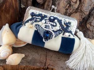 Создаём бархатную сумочку-косметичку «Капри» на морскую тему. Ярмарка Мастеров - ручная работа, handmade.