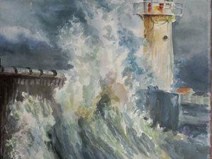 Аукцион Акварель  «Маяк в шторм». Ярмарка Мастеров - ручная работа, handmade.