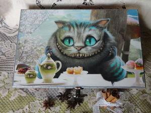 Шкатулка  «Чеширский кот». Ярмарка Мастеров - ручная работа, handmade.