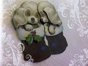 3D аппликация для новогодней открытки своими руками. Ярмарка Мастеров - ручная работа, handmade.