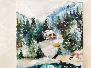 Процесс создания Снежной картины маслом. Ярмарка Мастеров - ручная работа, handmade.