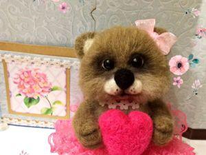 Валяем медведку из шерсти с сердцем в лапках (Часть 2). Ярмарка Мастеров - ручная работа, handmade.