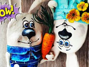 Зайцы из папье-маше с морковкой и цветами. Ярмарка Мастеров - ручная работа, handmade.