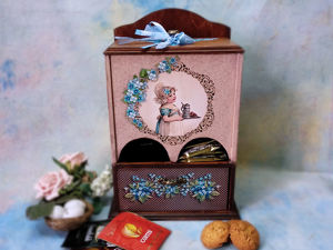 Декупаж буфетика «Незабудки» для чайных пакетиков. Ярмарка Мастеров - ручная работа, handmade.