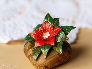 """Создаем новогоднюю брошь """"Пуансеттия"""". Ярмарка Мастеров - ручная работа, handmade."""