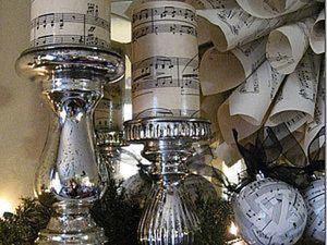 Новогодние свечи и венок с нотами. Ярмарка Мастеров - ручная работа, handmade.