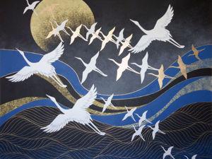 Картина  «Журавли над морем». Ярмарка Мастеров - ручная работа, handmade.
