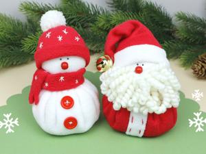 Снеговик и Дед Мороз — мягкие игрушки с эффектом антистресс. Ярмарка Мастеров - ручная работа, handmade.
