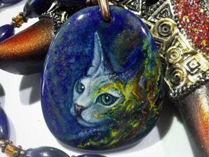 Баст или Бастет – богиня кошка (сфинкс): кулон – колье с лаковой миниатюрной росписью. Ярмарка Мастеров - ручная работа, handmade.