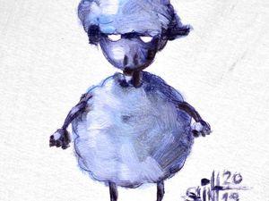 День 314. Миниатюра маслом  «Обычная овечка» . 15-я работа из серии 50 дней масла. Ярмарка Мастеров - ручная работа, handmade.