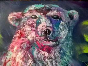 Пишем картину севера с белым медведем, холст, масло. Ярмарка Мастеров - ручная работа, handmade.