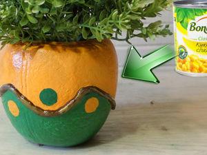 10 идей цветочных горшков из колготок и консервных банок. Ярмарка Мастеров - ручная работа, handmade.