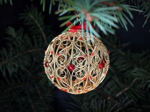 Делаем оригинальный елочный шар из проволоки. Ярмарка Мастеров - ручная работа, handmade.