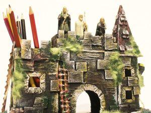 Мастерим замок-карандашницу из картона.Часть 2 (роспись и декорирование). Ярмарка Мастеров - ручная работа, handmade.