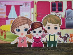 Книжка-Домик для семьи из трех фетровых кукол!. Ярмарка Мастеров - ручная работа, handmade.