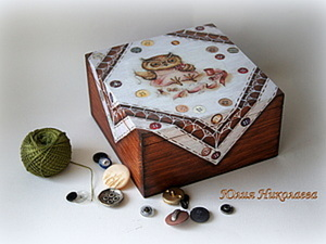 """Шкатулка с имитацией кружева """"Сова-рукодельница"""". Ярмарка Мастеров - ручная работа, handmade."""