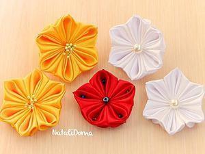 Видео мастер-класс: милые цветочки канзаши с необычными лепестками. Ярмарка Мастеров - ручная работа, handmade.