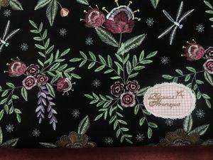 Наши новинки: Этнические цветы на черном Футер 2-х нитка с лайкрой. Ярмарка Мастеров - ручная работа, handmade.