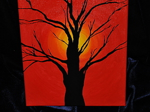 Мастер класс. Рисуем закат и силуэт дерева.. Ярмарка Мастеров - ручная работа, handmade.