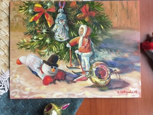 Праздник игрушек — новая авторская картина маслом. Ярмарка Мастеров - ручная работа, handmade.