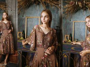 Шелковое платье с цветами. Ярмарка Мастеров - ручная работа, handmade.