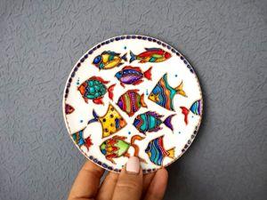 Расписываем тарелочку витражными красками. Ярмарка Мастеров - ручная работа, handmade.