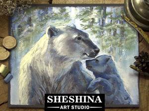 Видеоурок: рисуем белую медведицу с медвежонком сухой пастелью. Ярмарка Мастеров - ручная работа, handmade.