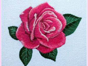 Вышиваем гладью розу. Ярмарка Мастеров - ручная работа, handmade.