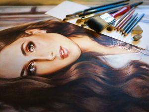Процесс выполнения портрета сухой кистью. Ярмарка Мастеров - ручная работа, handmade.